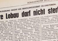"""""""Lobau darf nicht sterben"""" erstmals 1972 in der Bezirkszeitung"""